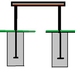 Закрепление скамеек